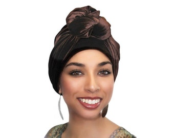 Turban Diva Brown Velvet Turban, Head Wrap, Chemo Hat, Alopecia Scarf, Hijab, One Piece Fitted