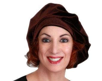 RETIREMENT SALE Save 50% Oversize 13 inch Beret, Dark Brown Velvet Beret, French Beret, Large Beret, Slouchy Hat, Chemo Hat, Alopecia Hat