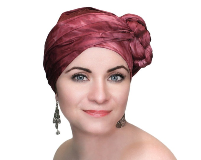 RETIREMENT SALE Turban Diva Wine Turban, Burgundy Tie Dye, Head Wrap, Dreads wrap, One Piece Wrap, Fitted Turban Jersey knit