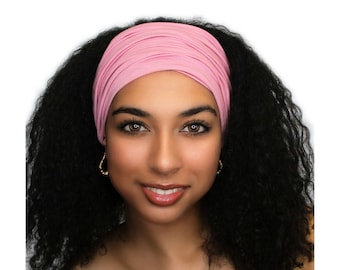 Rose Pink Turban Head Band, Yoga headband, Wide Headband, Exercise Headband, Pretied Turban 298-09a