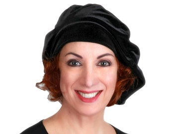 Oversize 13 inch Beret, Black Velvet Beret, Chemo Hat, French Beret, Large Beret, Slouchy Hat, Soft Hat,