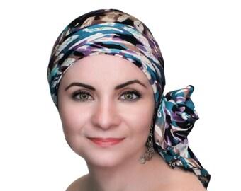 Purple Teal Turban, Head Wrap, Chemo Hat, Alopecia Head Scarf, Hat & Scarf Set