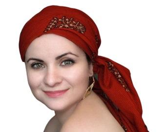 Turban Diva Chemo Hat, Turban Hat Set, Red Turban, Red Cotton Batik Floral, Alopecia Scarf, Hat & Scarf Set