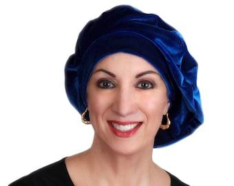 Oversize 13 inch Beret, Blue Velvet Beret, French Beret, Large Beret, Slouchy Hat, Indigo,Chemo Hat, Alopecia Hat, Boho