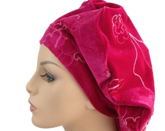 Butterfly Beret, Chemo Hat, French Beret, Large Beret, Slouchy Hat, Boho, Gypsy, Fuchsia Pink 702-20