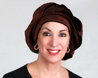 Oversize 13 inch Beret, Dark Brown Velvet Beret, French Beret, Large Beret, Slouchy Hat, Chemo Hat, Alopecia Hat