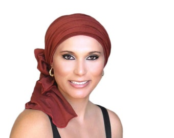 Turban Diva Rust Brick Red Turban Head Wrap Alopecia Head Scarf Chemo Hat, Hat & Scarf Set