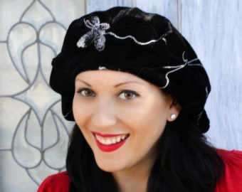 Floral Embroidered Beret, Chemo Hat, French Beret, Large Beret, Slouchy Hat, Boho, Gypsy, Black