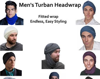 Men's Turban, Man's Navy Blue Turban,Man's Head Wrap, Dreads Wrap, Ski Hat, Motorcycle Scarf, Tactical Scarf