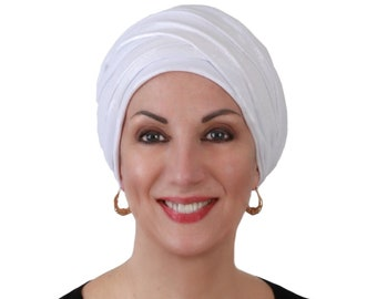 Turban Diva White Sparkle Turban Head Wrap, Alopecia Scarf, Chemo Hat, Boho Gypsy Tribal, One Piece Fitted,