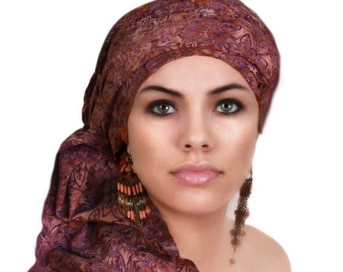 RETIREMENT SALE Turban Diva Rust Purple Turban Dreads Wrap, Chemo Hat, Boho, One Piece Wrap, Fitted Turban