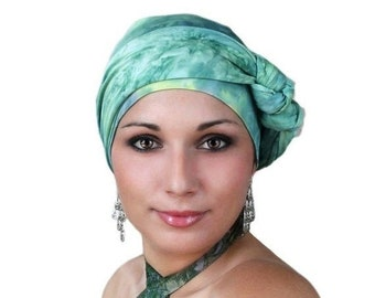 RETIREMENT SALE Turban Diva Jade Marble Turban Jersey Knit Hat and Scarf Set, Head Wrap, Alopecia Head Scarf, Chemo Hat. Cancer hat