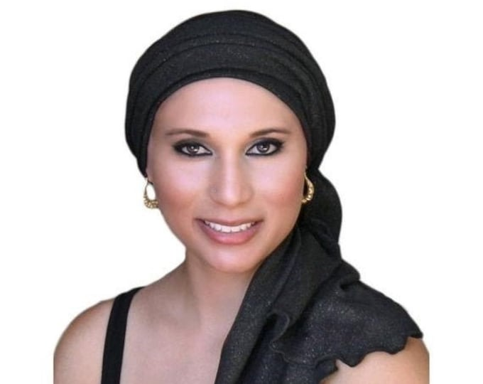 RETIREMENT SALE Turban Diva Black Gold Turban, Head Wrap, Chemo Hat, Alopecia Head Scarf, Jersey Knit Hat & Scarf Set