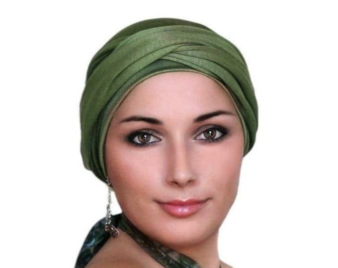RETIREMENT SALE Turban Diva Olive Green Turban Hat and Scarf Set, Head Wrap, Alopecia Head Scarf, Chemo Hat, Jersey Knit Hat & Scarf Set