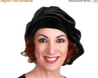 RETIREMENT SALE Save 50% Oversize 13 inch Beret, Black Velvet Beret, Chemo Hat, French Beret, Large Beret, Slouchy Hat, Soft Hat,
