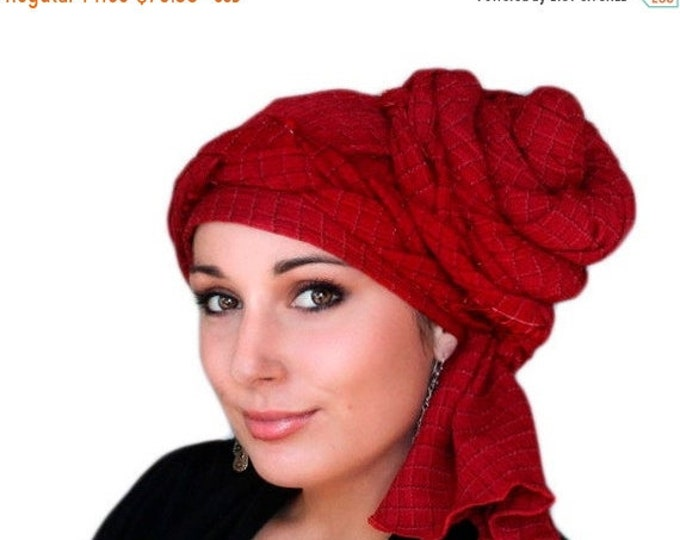 RETIREMENT SALE Save 50% Turban Diva Red Turban Dreads Wrap, Chemo Hat, Boho Gypsy Tribal, One Piece Wrap, Fitted Turban