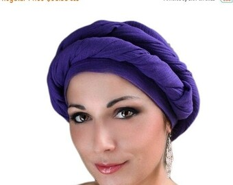 RETIREMENT SALE Purple Cotton Turban, Head Wrap, Chemo Hat, Head Wrap, Cotton Gauze Turban, Alopecia Scarf, Boho, Gypsy, One Piece Wrap