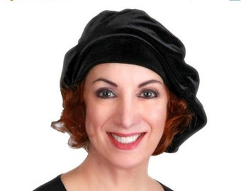 RETIREMENT SALE Oversize 13 inch Beret, Black Velvet Beret, Chemo Hat, French Beret, Large Beret, Slouchy Hat, Soft Hat,
