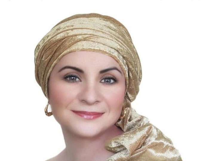 RETIREMENT SALE Turban Diva Gold Velvet Turban, Head Wrap, Chemo Hat, One Piece Wrap, Fitted Turban