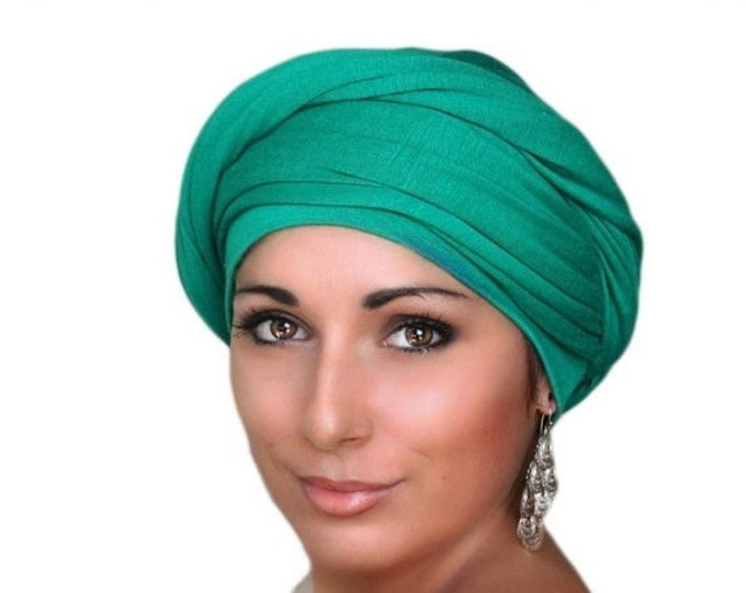RETIREMENT SALE Emerald Green Turban, Chemo Hat Head Wrap Alopecia Scarf, One Piece Fitted Wrap, Jersey Knit Head Wrap