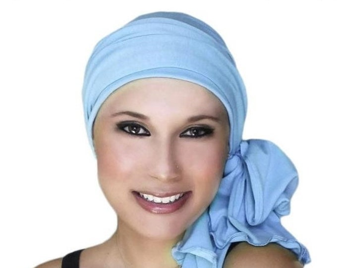 RETIREMENT SALE Save 50% Turban Diva Sky Blue Chemo Hat, Pre-tied Turban, Head Wrap, Alopecia, Jersey Knit Hat & Scarf Set