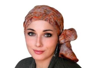RETIREMENT SALE Save 50% Rust Leaves Batik Turban Hat Chemo Hat Head Wrap Alopecia Scarf Boho, Rust Cinnamon, Hat & Scarf Set