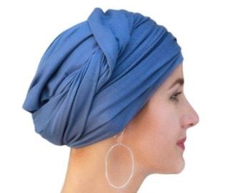 RETIREMENT SALE Save 50% Turban, Chemo Hat, Dreads Wrap, Head Wrap, Jersey knit wrap, Smoky Blue, Denim blue, One Piece Wrap, Fitted