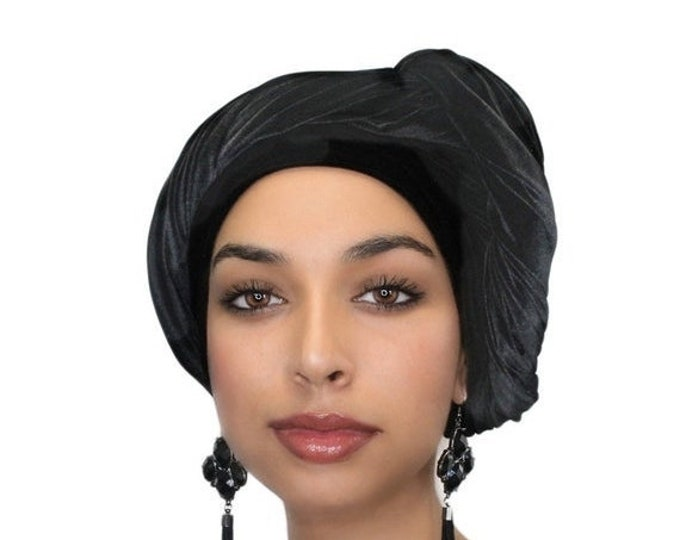 RETIREMENT SALE Turban Diva Black Velvet Turban, Head Wrap, Chemo Hat, Alopecia ScarfOne Piece Fitted 332-03