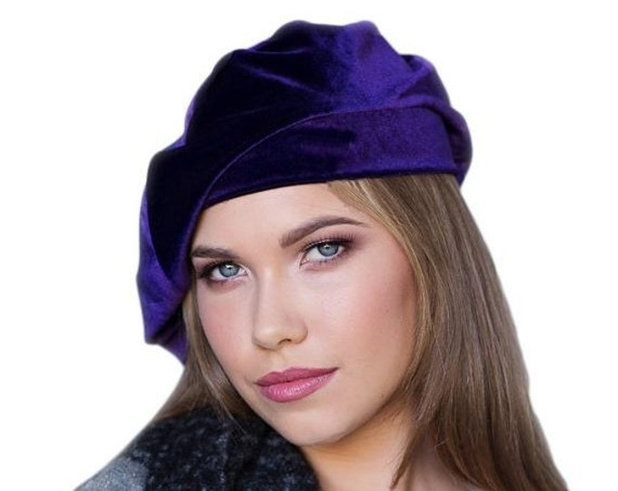 RETIREMENT SALE Save 50% Oversize 13 inch Beret, Purple Velvet Beret, Chemo Hat, French Beret, Large Beret, Slouchy Hat, Alopecia Hat