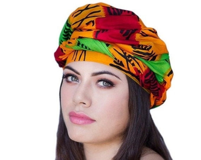 RETIREMENT SALE African Kente Print Turban Dreads Wrap, Green Red Blue Yellow Head Wrap, Alopecia Scarf, Chemo Hat, Boho Gypsy Tribal, One P