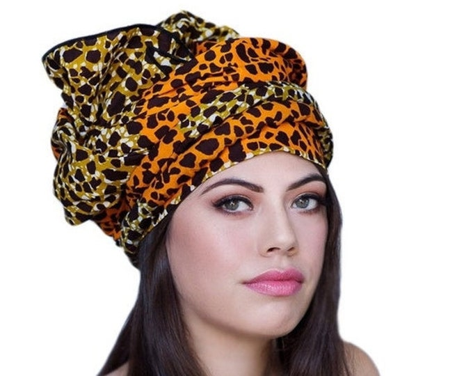 RETIREMENT SALE African Wax Print Turban Dreads Wrap, Leopard Orange Gold Black Head Wrap, Alopecia Scarf, Chemo Hat, Boho Gypsy Tribal, 1 P