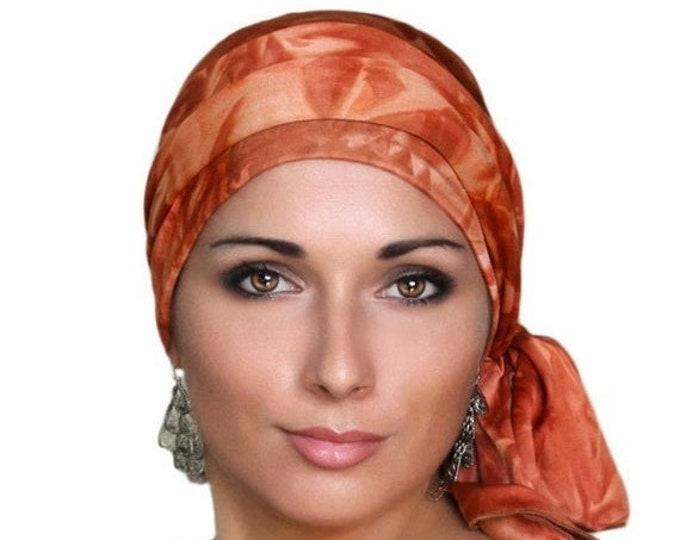 RETIREMENT SALE Turban Diva Marble Rust Tie-Dye Turban Head Wrap Alopecia Head Scarf Chemo Hat, Jersey Knit Hat & Scarf Set