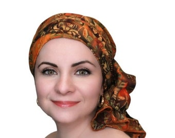 RETIREMENT SALE Turban Diva Sunflower Batik Floral Turban Hat Set, Chemo Hat, Rust, Gold, Brown, Orange, Alopecia Scarf, Gift for Her