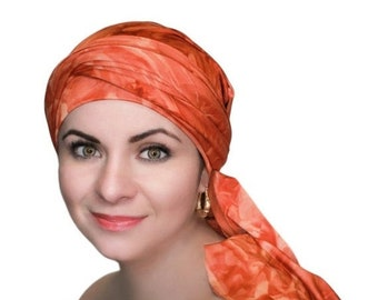 RETIREMENT SALE Rust Marble Chemo Hat, Rust Turban, Jersey Knit Head Wrap, Dreads Wrap, One Piece Wrap, Fitted Turban