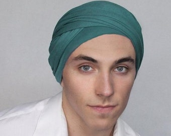 RETIREMENT SALE Save 50% Man's Teal Turban, Man's Head Wrap, Dreads Wrap, Ski Hat, Motorcycle Scarf, Gifts for Men, Tactical Scarf