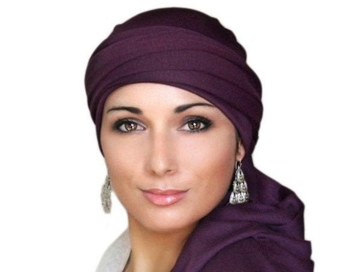 RETIREMENT SALE Turban Diva Plum Turban, Purple Turban, Jersey Knit Head Wrap, Chemo Hat, Alopecia ScarfOne Piece Wrap