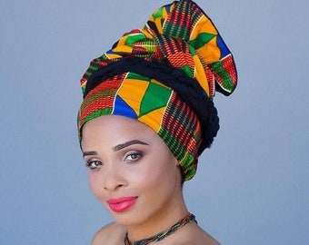 RETIREMENT SALE Save 50% African Kente Print Turban Dreads Wrap, Green Red Blue Yellow Head Wrap, Alopecia Scarf, Chemo Hat, Boho Gypsy Trib