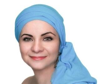 RETIREMENT SALE Save 50% Turban Diva Turban Diva Ocean Blue Turban Hat, Head Wrap Chemo Hat, Alopecia Scarf, Cancer Turban Cotton Gauze, Hat