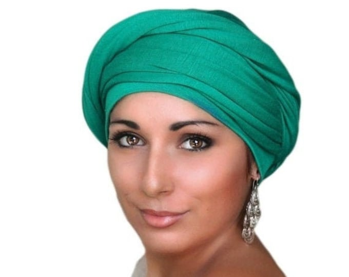 RETIREMENT SALE Save 50% Emerald Green Turban, Chemo Hat Head Wrap Alopecia Scarf, One Piece Fitted Wrap, Jersey Knit Head Wrap