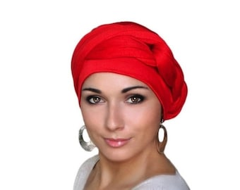 RETIREMENT SALE Turban Diva Red Turban Dreads Wrap, Jersey Knit Head Wrap, Chemo Hat, Boho  One Piece Wrap, Fitted