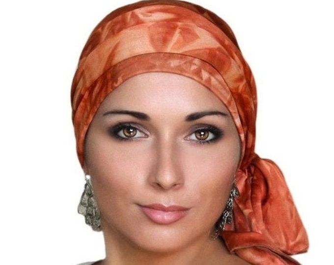 RETIREMENT SALE Save 50% Turban Diva Rust Tie-Dye Turban Head Wrap Alopecia Head Scarf Chemo Hat, Jersey Knit Hat & Scarf Set