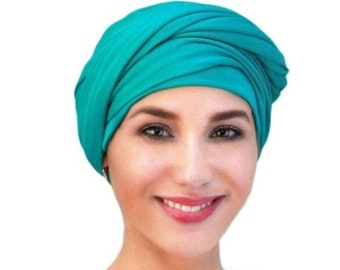 RETIREMENT SALE Emerald Teal Turban Jersey Chemo Hat Head Wrap Alopecia ScarfOne Piece Fitted Wrap, Jersey Knit