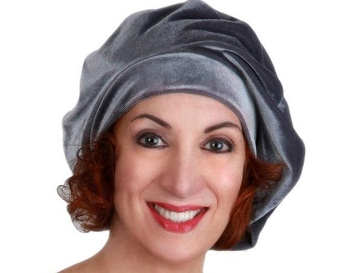 RETIREMENT SALE Save 50% Oversize 13 inch Beret, Gray Velvet Beret, French Beret, Large Beret, Slouchy Hat, Chemo Hat, Alopecia Hat, Boho