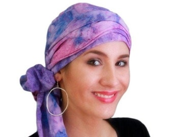 RETIREMENT SALE Turban Diva Purple Lavender Pink Turban Hat Set, Head Wrap Alopecia Scarf, Chemo Hat, Hat & Scarf Set