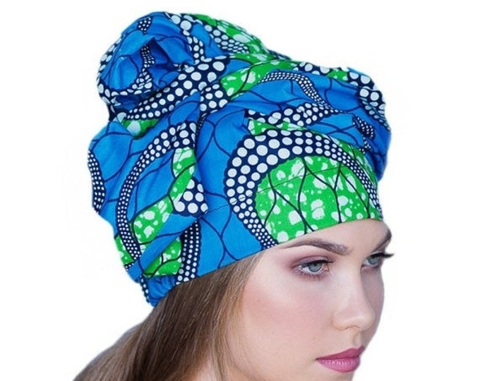 RETIREMENT SALE African Wax Print Turban Dreads Wrap, Blue Green Black Head Wrap, Chemo Hat, Boho Gypsy Tribal, 1 Piece Wrap