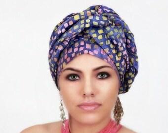 RETIREMENT SALE Purple Raindrop Turban Dreads Wrap, Head Wrap, Alopecia Scarf, Chemo Hat, Boho Gypsy Tribal, One Piece Wrap, Cotton Turban