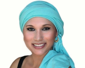 RETIREMENT SALE Turban Dreads Aqua Head Wrap, Alopecia Scarf Chemo Hat, One Piece Fitted Wrap