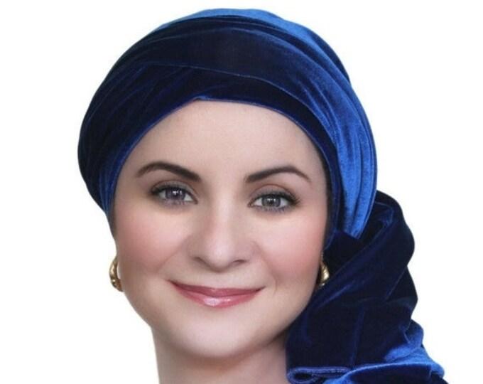 RETIREMENT SALE Save 50% Turban Diva Cobalt Blue Velvet Turban, Head Wrap, Chemo Hat, Alopecia Scarf, Hat & Scarf Set