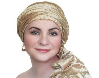 RETIREMENT SALE Save 50% Turban Diva Gold Velvet Turban, Head Wrap, Chemo Hat, One Piece Wrap, Fitted Turban
