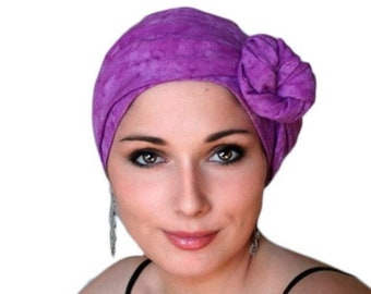 RETIREMENT SALE Raspberry Batik Turban Hat, Alopecia Scarf, Chemo Hat & Scarf Set by Turban Diva